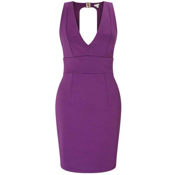 Miss Selfridge Purple Plunge Scuba Pencil Dress ($30) ❤ liked on Polyvore featuring dresses, purple, purple dresses, sexy night out dresses, sexy pencil dresses, sexy going out dresses and purple party dresses
