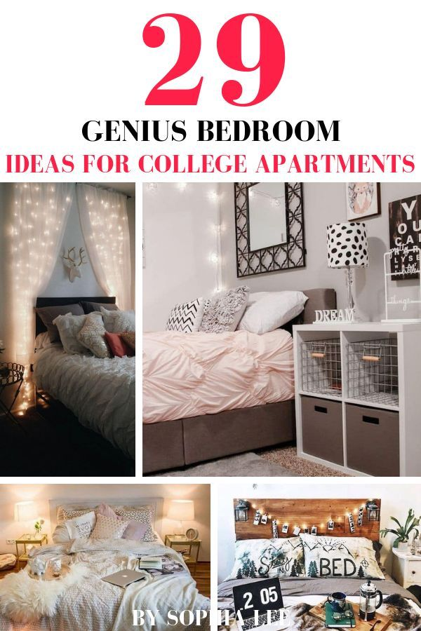29 Genius College Apartment Bedroom Ideas You Ll Want To Copy By Sophia Lee College Bedroom Apartment College Apartment Decor Apartment Decorating College Bedroom
