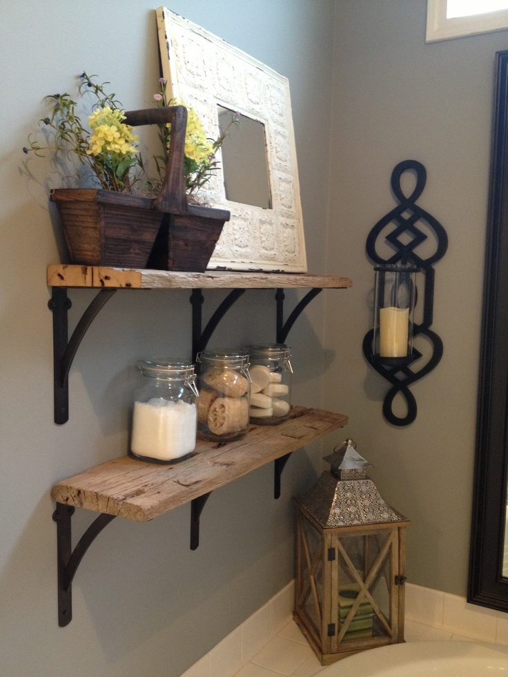 Rustic shelves. Made them out of reclaimed wood from Atlanta Specialty Woods in Kennesaw,GA...beautiful selection.  http://www.atlantaspecialtywoods.com/