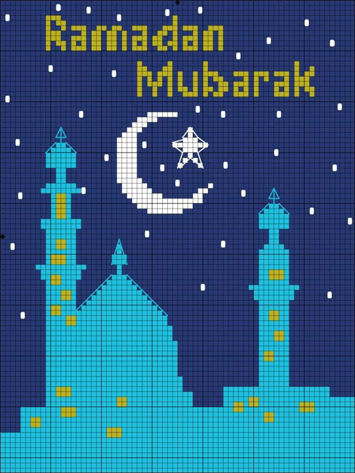 Ramadan cross stitch pattern.