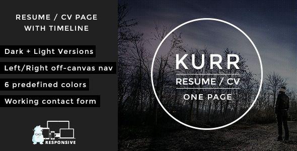 Kurr - Personal Resume and Portfolio Theme
