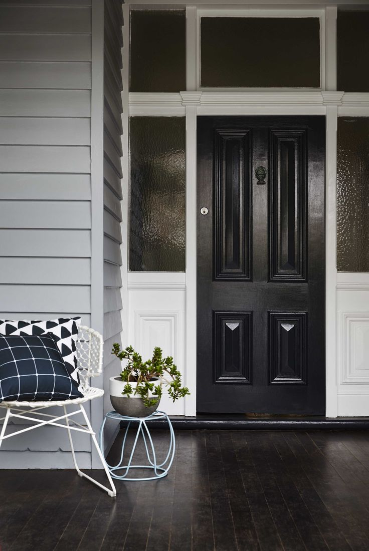 Black doors almost ground the home; they act as a focal point, drawing your attention. They are bold, and pack a powerful punch. If black isn't your preference, then maybe try bringing a bold colour in. There are some beautiful examples of bright reds, dark blues and olive greens. Colours used were Haymes Sense & Haymes Greyology 1