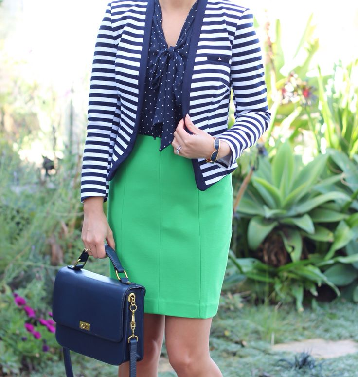 Navy stripes and polkadots with green #outfit #work