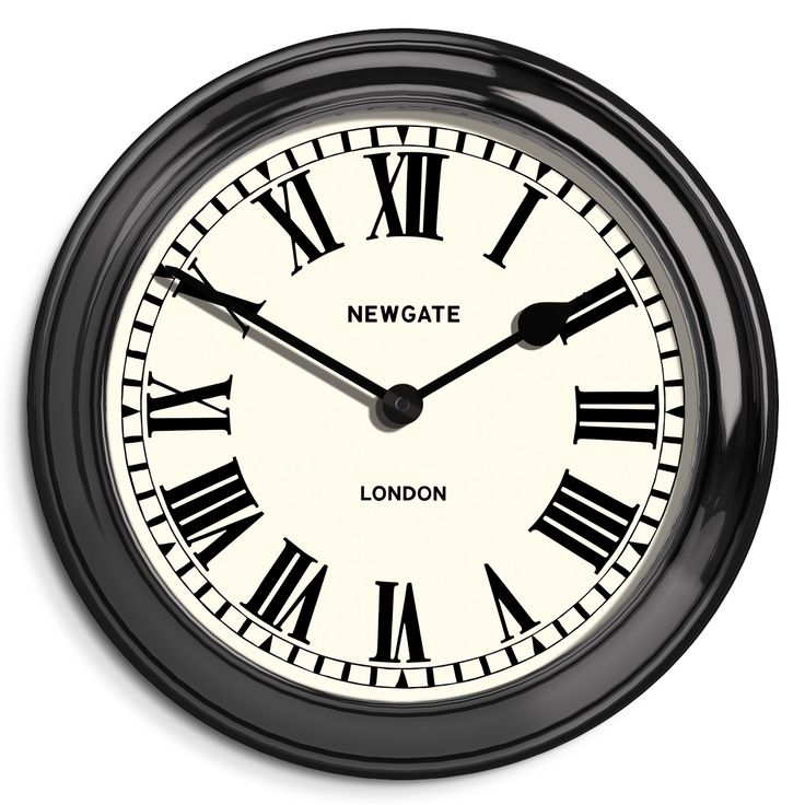 The Sea   Newgate Clocks   A large indoor or outdoor wall clock with a classic Roman dial and black metal case. The open face is measured by traditional spade and baton hands. Perfect for exterior use in the garden or patio, or as a normal indoor timepiece.