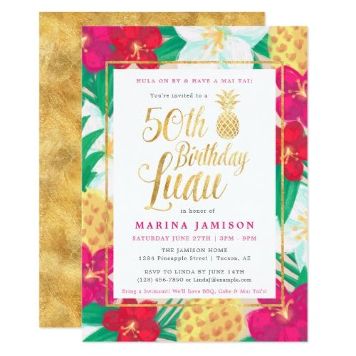 Gold 50th Birthday Luau Party Invitations