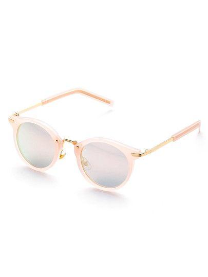 Gafas de sol redondas con lentes planos - rosa