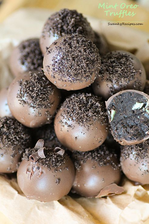 ... truffles coated in milk chocolate with mint chocolate chips. Truffles