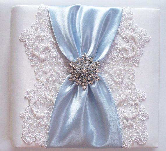 Wedding Photo Album with Alencon Lace Rhinestone by JLWeddings, $135.00