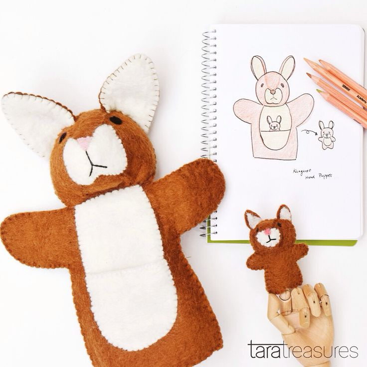 Kangaroo hand puppet designed by us. Joey pops up from pouch and is a finger puppet. #handpuppet #kangaroo