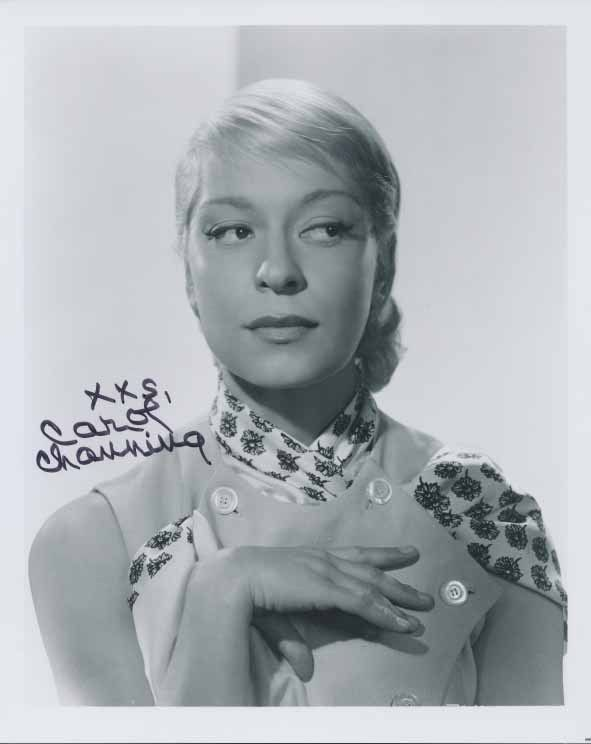 Carol Channing....Channing has been married four times. Her first husband, Theodore Naidish, was a writer. Her second husband, Alexander Carson, played center for the Ottawa Rough Riders Canadian football team. They had one son, Channing Carson.