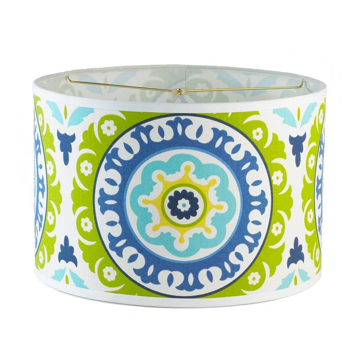Lime green & turquoise Suzani Fabric lampshade!