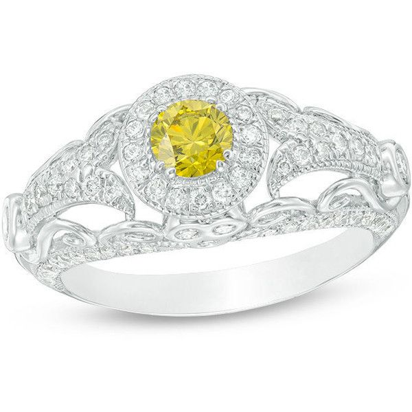 1 CT. T.W. Enhanced Yellow and White Diamond Frame Tapered Shank... (4,500 ILS) ❤ liked on Polyvore featuring jewelry, rings, sparkly diamond ring, wrap rings, white gold engagement rings, diamond wrap ring and 14 karat diamond ring