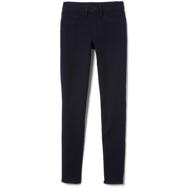 Gap Women Mid Rise Ultra Sleek Jeggings ($80) ❤ liked on Polyvore featuring pants, leggings, stretch leggings, stretch jean leggings, petite leggings, tall leggings and petite jeggings