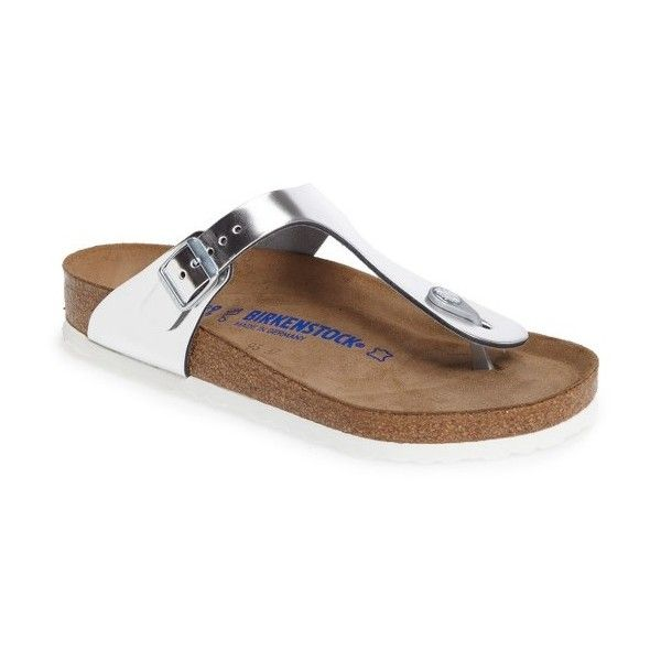 Women's Birkenstock Gizeh Soft Footbed Flip Flop ($135) ❤ liked on Polyvore featuring shoes, sandals, flip flops, metallic silver leather, metallic sandals, leather shoes, cork footbed sandals, leather flip flops and metallic flip flops