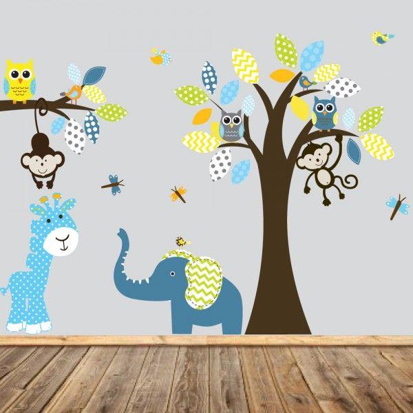 La tendance jungle pour les stickers chambre bébé !  Stickers chambre bébé : Idées, tendances & inspirations !  Découvrez notre guide >> http://www.homelisty.com/stickers-chambre-bebe-idees-inspirations-tendances-photos/