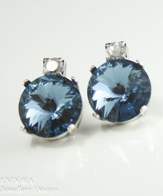 Denim blue Swarovski crystal earrings | Bridesmaid earrings | Blue wedding jewelry | Something blue | #EndoraJewellery