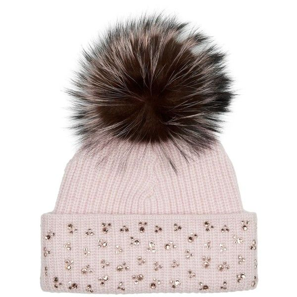 William Sharp Swarovski Embellished Fur Bobble Hat (€700) ❤ liked on Polyvore featuring accessories, hats, william sharp, bobble beanie, pom pom hat, pompom hat and embellished hats