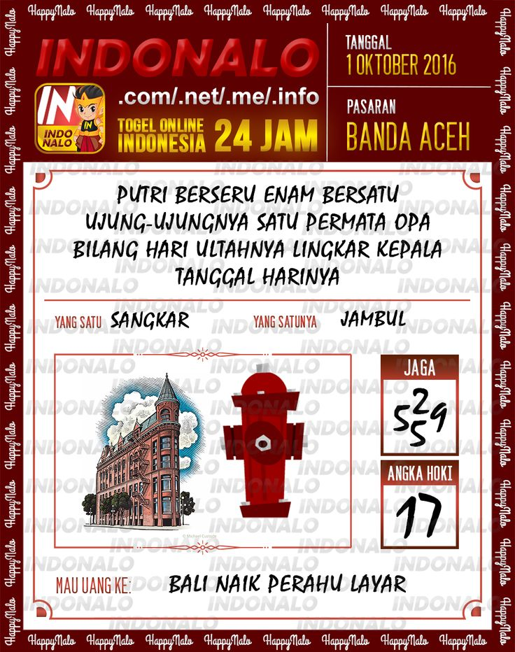 Angka Pakong Togel Wap Online Live Draw 4D Indonalo Banda Aceh 1 Oktober 2016