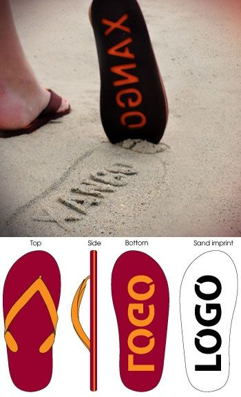 Leave your company name, logo, or any saying and name on the bottom of these swanky flip flops!  You will leave your mark all over the beach!  We sell many colors and styles! Contact us at amy@eagleeyepromotions.com