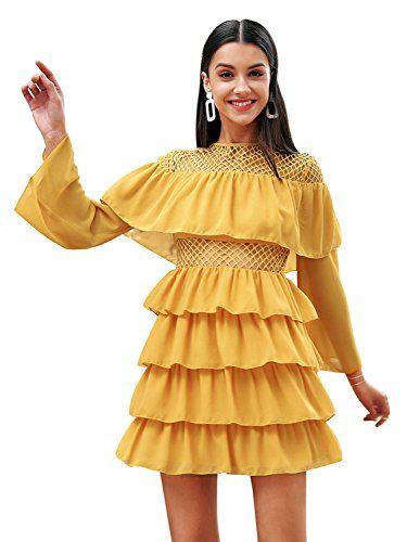 b10ad5dbabf8 Simplee Apparel Simplee Women Elegant Chiffon Floral Ruffle Dress Flowy  Short Dress Wedding