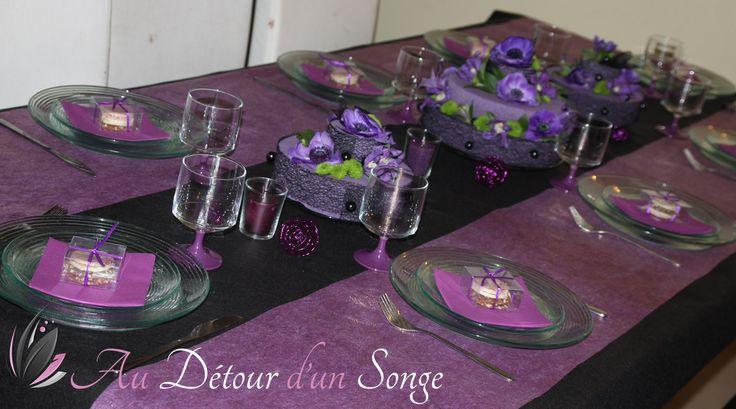 D coration de table d 39 halloween soft couleurs noir et for Decoration mauve et gris