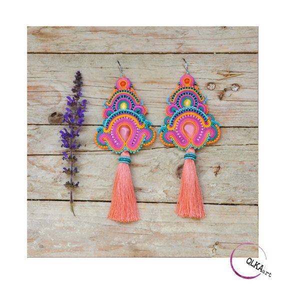 Very long colourful earrings. Soutache jewellery. by QlkaArt