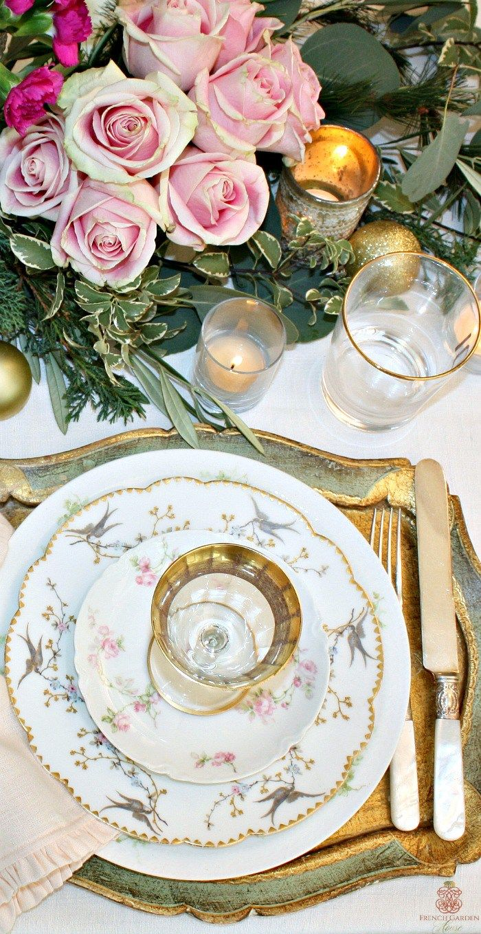 SET A ROMANTIC FRENCH COUNTRY TABLE FOR THE HOLIDAYS. #frenchgardenhousestyle #limoges #shabbychic