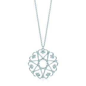 "Paloma's Venezia Goldoni medallion pendant in sterling silver. - These intricate designs recall Venetian cast-iron window gates. Pendant in sterling silver. On an 18"" chain. Original designs copyrighted by Paloma Picasso."