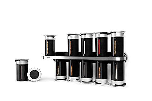 Zevro KCH-06101 Zero Gravity Wall-Mount Magnetic Spice Rack Black/Silver - Set of 12