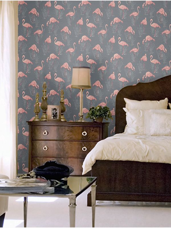 Grey and Coral Flamingo Lagoon Wallpaper  More wallpaper designs available. The 25  best Flamingo wallpaper ideas on Pinterest   Flamingo