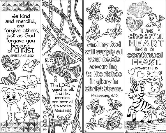 Set Of 8 Animals Insects Bible Coloring Bookmarks Cute