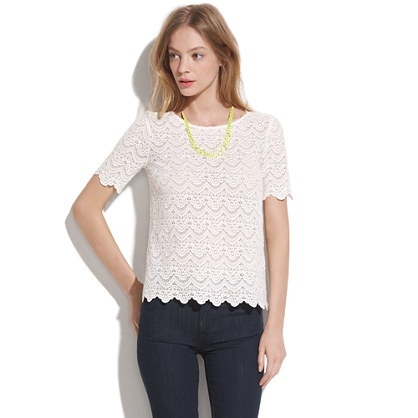 Scallop Lace Top: Madewell White, Lace Tops, Fall Style, Neon Necklaces, Tops Madewell, Style Inspiration, Lacey Tops, Scallops Lace, Madewell Scallops