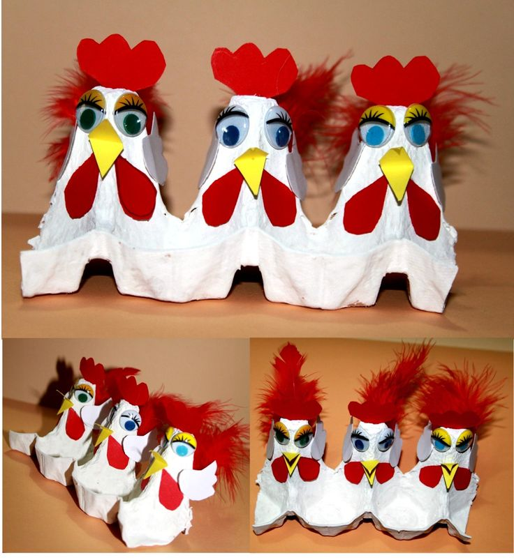 Chickens made out of a recycled empty egg carton! Such a fun craft for kids to do using feathers and googly eyes! #DIY #Art Project #Farm theme Door AF gepind