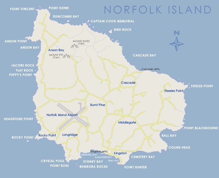 Norfolk Island is a small island in the Pacific Ocean located between Australia, New Zealand and New Caledonia, 1,412 kilometres directly east of mainland Evans Head, and about 900 kilometres from Lord Howe Island.