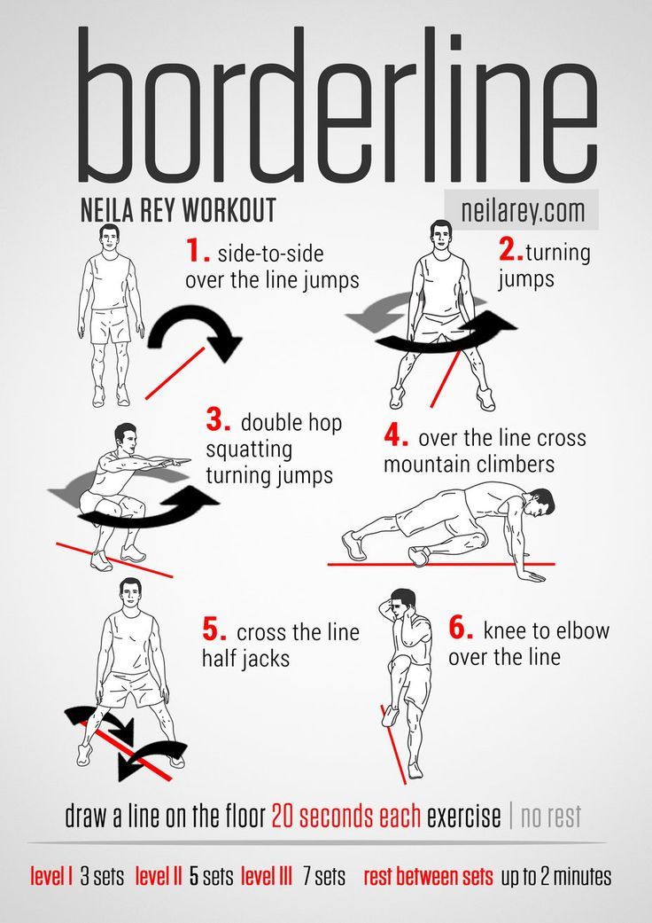 Borderline Workout / Works: calves, ankle joint, lower back, lower abs, triceps, glutes, core