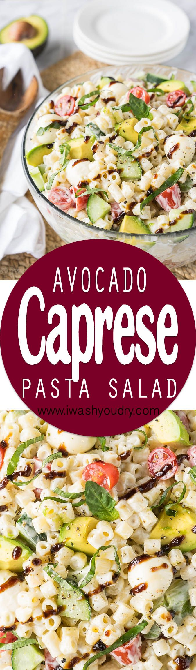 This Avocado Caprese Pasta Salad is a cold pasta salad that is perfect for parties and bbq's! Full of fresh veggies and creamy pasta!