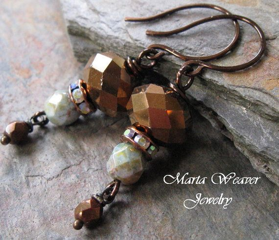 Bronze Beauty Earrings by MartaWeaverJewelry on Etsy, $29.98