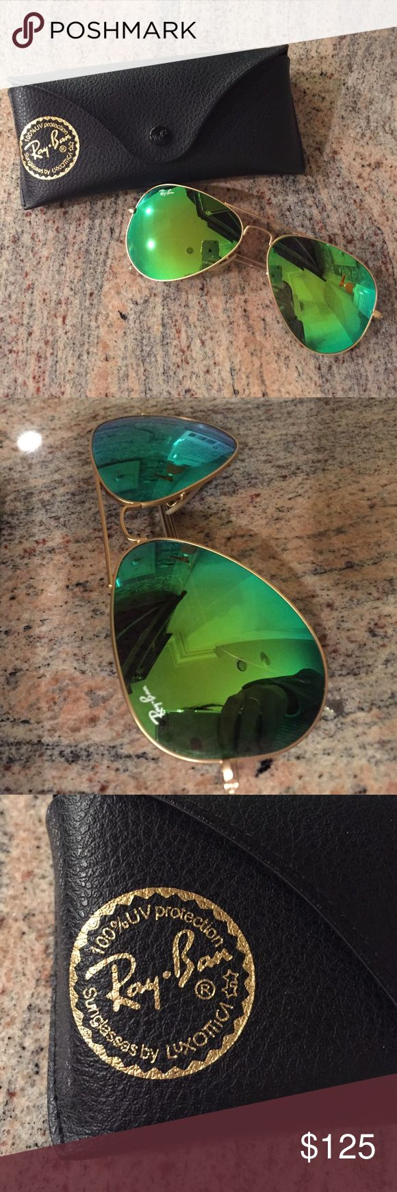 Green Mirror Aviator Ray Bans in great condition! Green Mirror Aviator Ray Bans in great condition! Ray-Ban Accessories Sunglasses