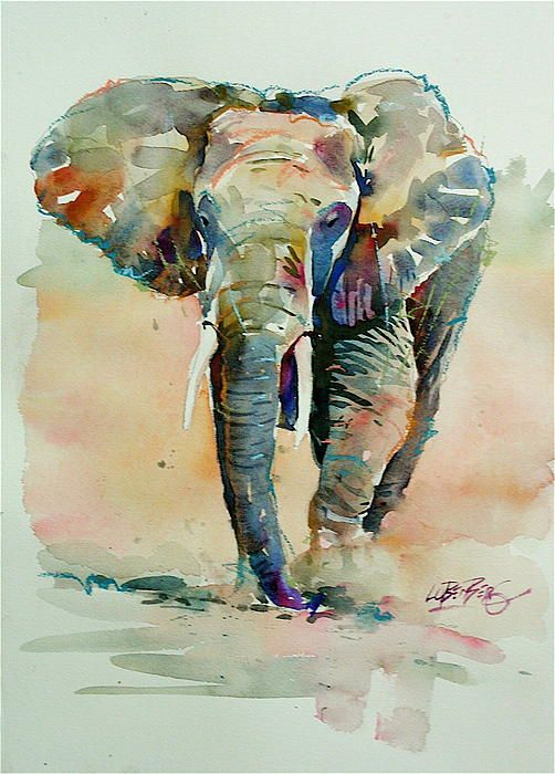 Running Elephant Painting - amazing how so many colours are used for shadows and to make the elephant look grey, cool!