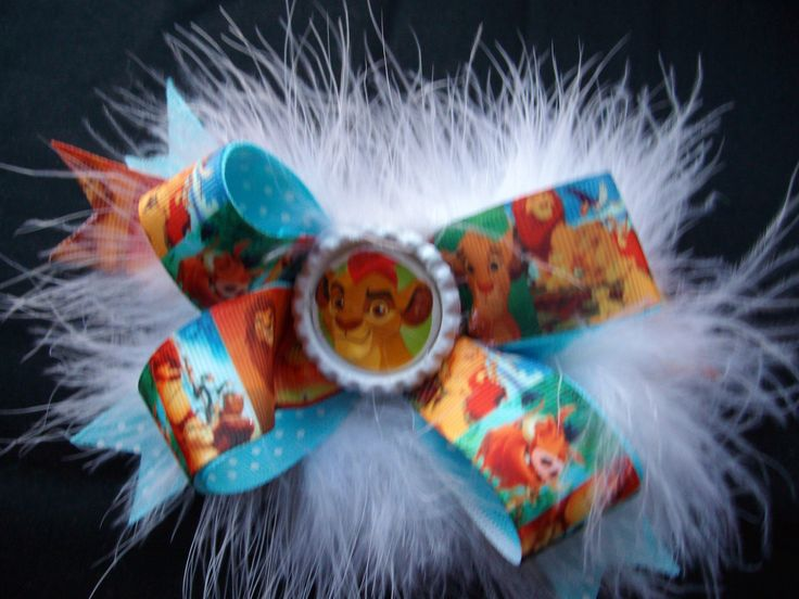 Lion Guard Lion King Disney Simba Girls Boutique Pinwheel hair bow with white fluffy Boa feathers ~~ Adorable by Hamptonfoxx on Etsy