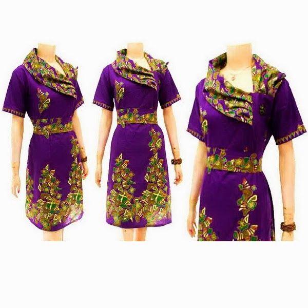 Dress Batik dengan model kerah samping rempel, bross bunga di samping, lengan pendek, kerut belakang, sabuk terlepas di pinggang, cocok untuk seragam kantor. Ukuran Allsize (Panjang 106cm dan lebar 50cm)