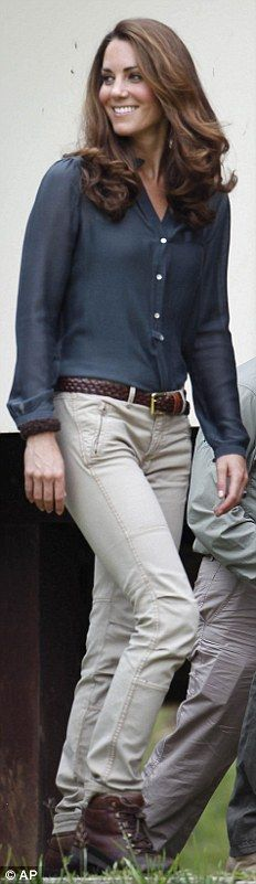 ZARA: A practical outfit for trekking in the a Malaysian conservation area, Kate wears a blouse from High Street brand Zara with beige khaki pants, a brown belt and walking boots