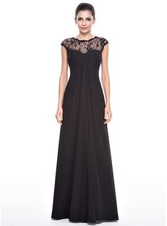 Empire Scoop Neck Floor-Length Chiffon Lace Evening Dress With Ruffle Beading Sequins (017056515) - JJsHouse