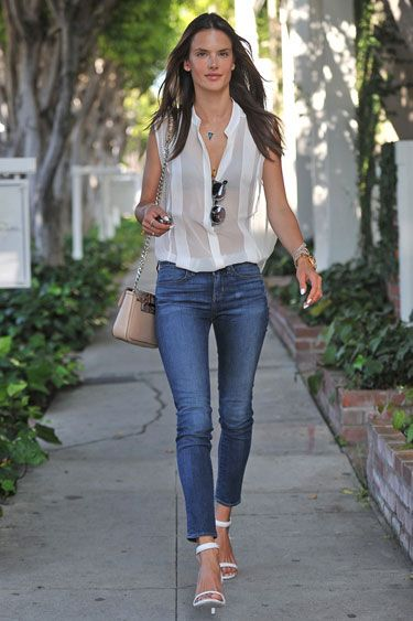 alessandra ambrosio - skinny jeans, white strappy heel pumps sandals, white sheer button up