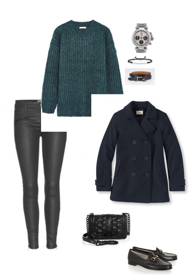 Angelux OOTD 4O50 - Loafers and cropped skinny jeans for fall. Current Elliot cropped black skinny jeans, green oversized knit sweater, LL Bean peacoat, Gucci bit loafers, Rebecca Minkoff cross body bag, Cartier Pasha watch, Hermes Hapi wrap bracelet, Tiffany Metro bracelet. #Hermes #Gucci #Cartier #Tiffany