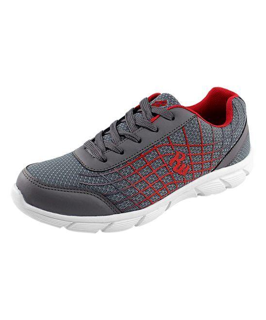 Gray & Red Speed Sneaker - Kids