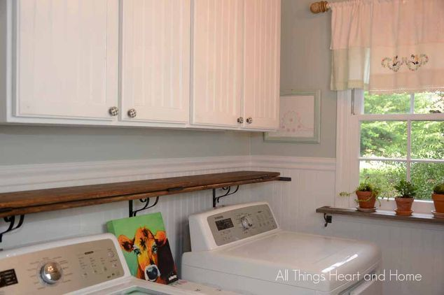 diy rustic folding shelf, diy, laundry rooms, rustic furniture, shelving ideas, woodworking projects
