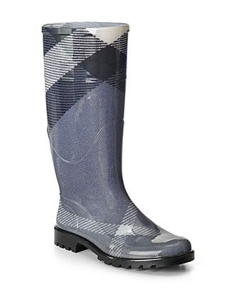 Burberry Large Check Rainboots: Rubber upper, fabric lining and a rubber lug sole. $225