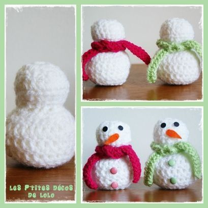 Les 25 meilleures id es de la cat gorie accessoires - Bonhomme de neige au crochet ...