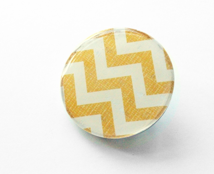 Yellow Chevron Wooden Brooch15 inch circle by LizMosLoft.  Good touch of mustard colour for an outfit :)